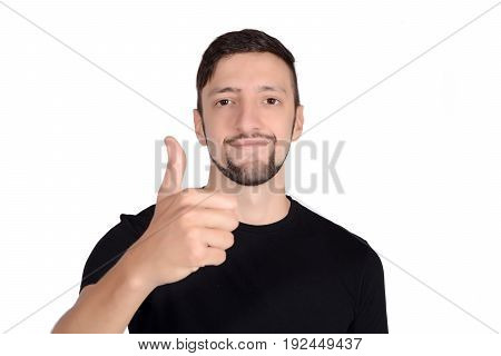 Portrait of young latin man doing ok gesture. Isolated white background.