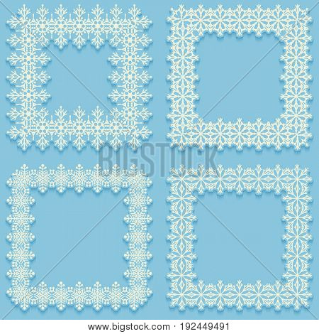 Set of frost frames from snowflakes. White cadres on blue background with shadow. Vector illustration