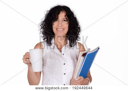 Portrait of beautiful school teacher with cup of coffee. Education concept. Isolated white background.