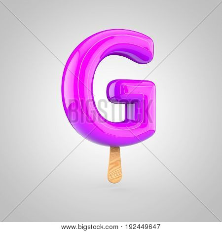 Ice Cream Letter G Uppercase Isolated On White Background
