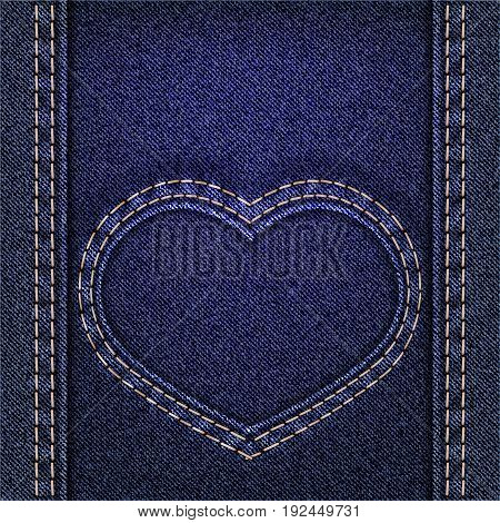 Denim heart sewn on jeans backdrop. Valentines day background. Vector illustration