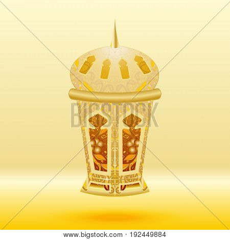 Oriental gold patterned lamp on a yellow background. Vector illustration.
