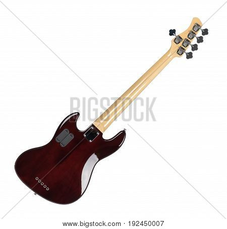 Electric Bass Guitar Back Side Isolated on White Background