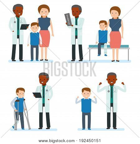Caring for the health of the child. Set of pediatrician and the mother with son on a white background. African doctor. Family doctor. Vector illustration in a flat cartoon style