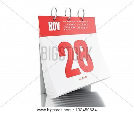 3d illustration. Day calendar with date November 28 2017. Cyber monday concept. Isolated white background