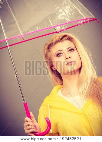 Sad Bored Woman Wearing Raincoat Holding Umbrella