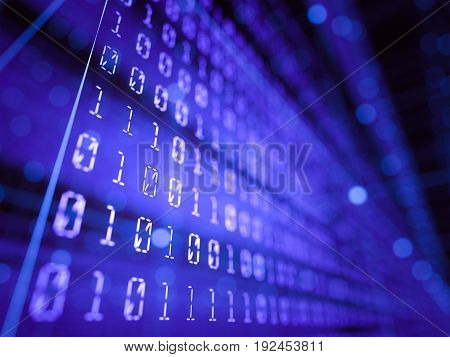 3D illustration. Abstract background, binary codes concept.