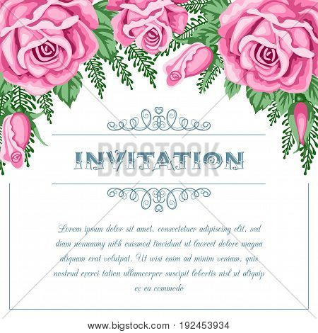 Bridal shower or wedding invitation template with flowers. Vector Illustration in retro style