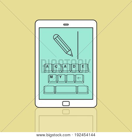 Online education pencil and keyboard graphic