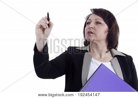 Portrait of an adult business woman confident with a pen and folder