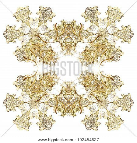 Vector pattern Christmas background. Vector Christmas golden snowflakes with doodles and dots on white background. Abstract border. Winter boarder.