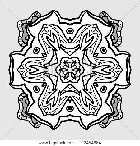 Damask classic white and dim pattern. Vector abstract background with repeating elements. Dim pattern on gray background with dim elements.