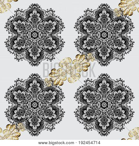 Vector illustration. Good for greeting card for birthday invitation or banner. Gold on gray background. Decorative symmetry arabesque. Seamless pattern medieval floral royal pattern.