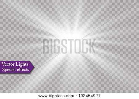 star on a transparent background, light effect, vector illustration. burst with sparkles.Sun.Special effect isolated on transparent background.spark