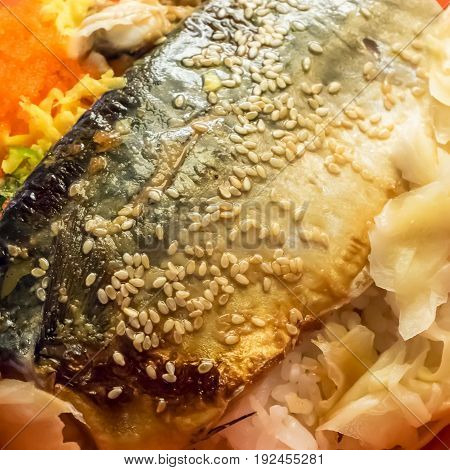 The close up of delicious grilled saba fish rice (Japanese food). poster