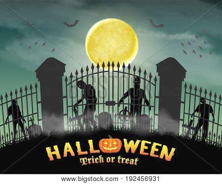 zombie group behind graveyard in cemetery gate