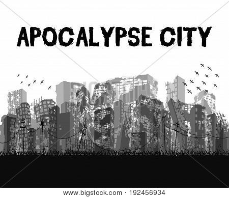 silhouette ruined apocalypse city building vector eps10