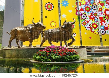 The Bull, the symbol of stock market prosperity, street in Hong Kong, China