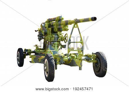 Gun. Anti-aircraft Gun On Wheels Isolated On White Background