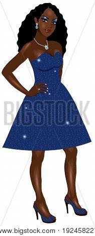 Black Woman Blue Sparkle Dress