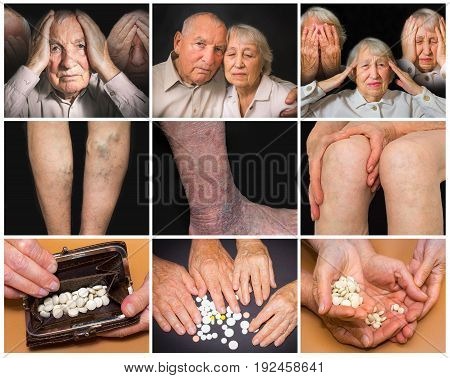 The collage of images of elderly couple on black background. The concept of disease, pain, medication and help