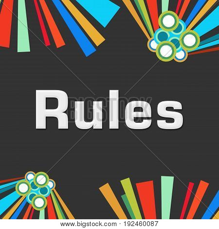 Rules text written over dark colorful background.
