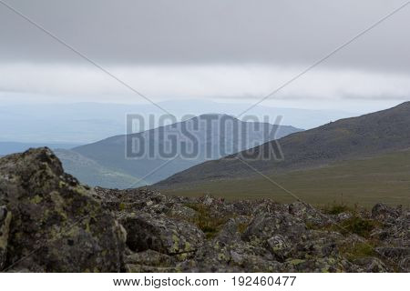 Panoramic view of the mountains and cliffs, South Ural. Summer in the mountains. Travel. Wild nature.