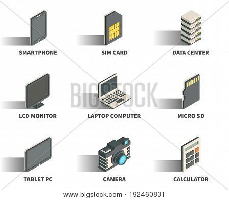 Isometric 3D web icon set - Smartphone sim card data center monitor laptop computer micro sd tablet pc camera calculator.