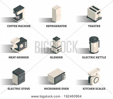 Isometric 3D web icon set - Coffee machine refrigerator toaster meat grinder blender electric kettle stove microwave oven kitchen scales.