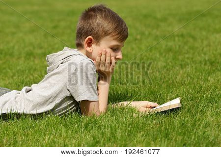 Cute blond boy reading a book in a park outdoors