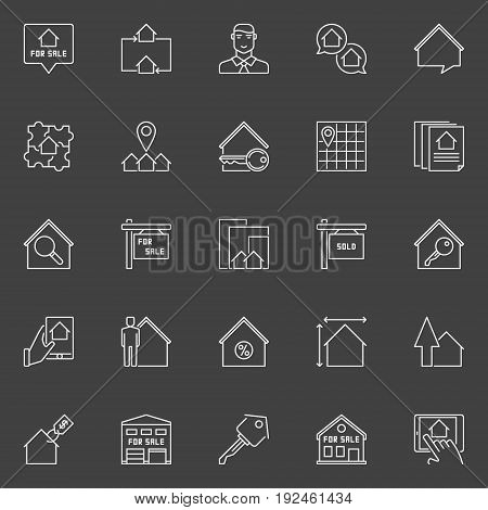 Property for sale icon. Vector collection of real estate outline sign on dark background