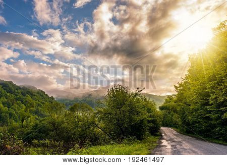 Countryside Road Through The Forest In Valley