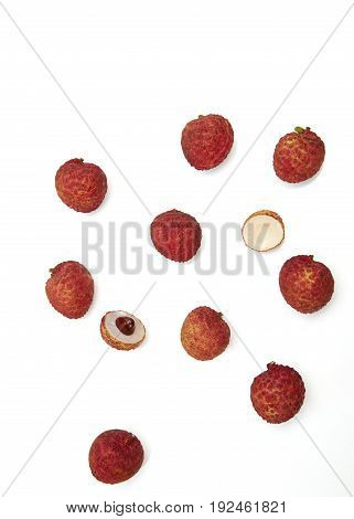 Set of fresh lychees fruit Collection of fruits on white background