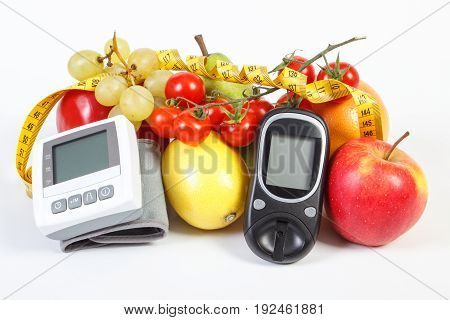 Glucose Meter, Blood Pressure Monitor, Fruits With Vegetables And Centimeter, Healthy Lifestyle