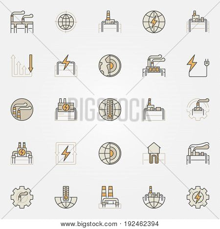 Geothermal energy colorful icons. Vector collection of creative geothermal power plants signs. Energy and electricity symbols