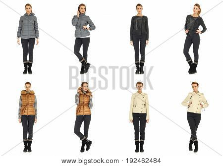 Blonde collage in season clothing isolated on white