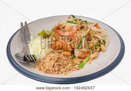 Pad Thai with shrimp a popular Thai noodle dish