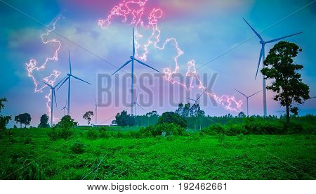 Windmill Turbines Generating Electricity during a Thunder Storm