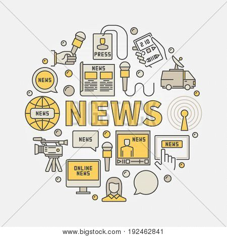 News round colorful illustration. Vector circular concept sign made with creative icons and word NEWS