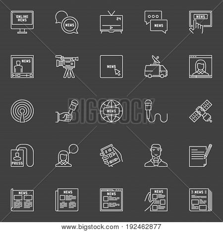 Vector news icons set. Newspaper, microphone, reporters and other communication outline symbols on dark background
