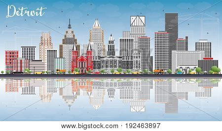 Detroit Skyline with Gray Buildings, Blue Sky and Reflections. Business Travel and Tourism Concept with Modern Architecture. Image for Presentation Banner Placard and Web Site.