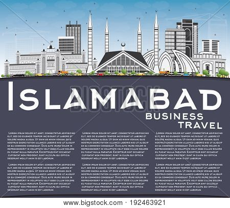 Islamabad Skyline with Gray Buildings, Blue Sky and Copy Space. Business Travel and Tourism Concept with Historic Architecture. Image for Presentation Banner Placard and Web Site.