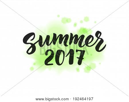 Summer 2017 text, hand drawn brush lettering. Summer label on digital watercolor texture. Watercolour splash made with blends, colors can be changed. Great for party posters, flyers and banners.