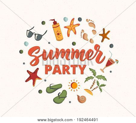 Summer Party text with beach elements. Sunscreen, sunglasses, cocktail, starfish, flip flops, palms. Letters in sand. Beach holidays fun design concept. Great for beach party posters.