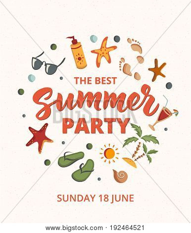 The best Summer Party text with beach elements. Sunscreen, sunglasses, cocktail, starfish, flip flops, palms. Letters in sand. Beach holidays fun design concept. Great for beach party posters.