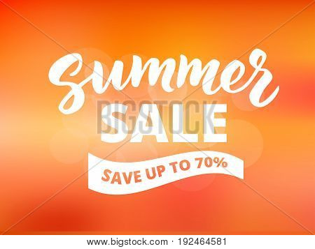 Summer sale banner design template. Brush lettering with typography. Save up to 70 percents text on waving banner. Abstract sunset sky background.