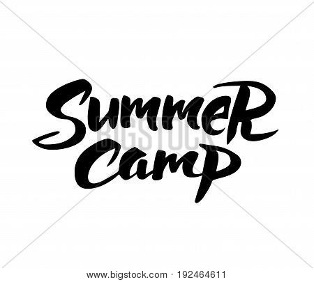 Summer camp hand drawn brush lettering. Summer camping label, vector illustration