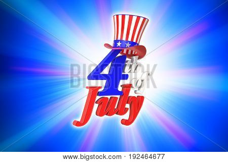 3D rendering of 4th of July Independence day in the United State of America on blue gradient background with clipping paths for easy to cut out.