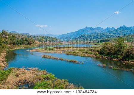 Landscape of river with blue sky Thailand