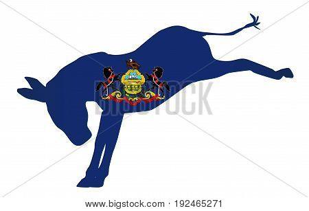 The Pennsylvania Democrat party donkey flag over a white background